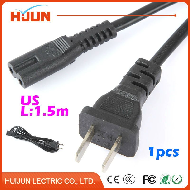 1pc 1.5m Power Cord Cable US 2-Prong Laptop AC Plug Adapter Lead 2 ...