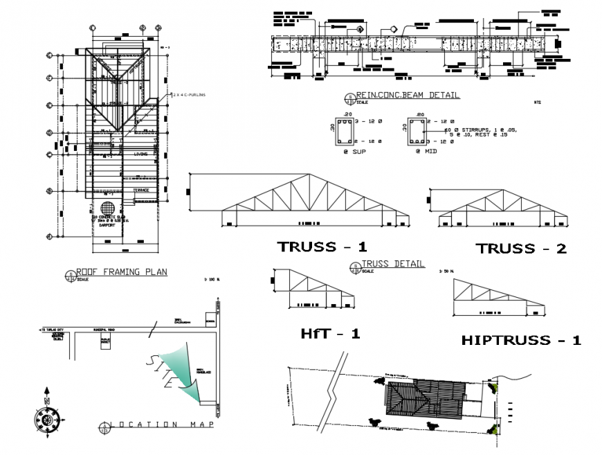 Roof Framing Plan And Construction Structure Details Of Bungalow Dwg File Roof Framing Roof Plan Roof