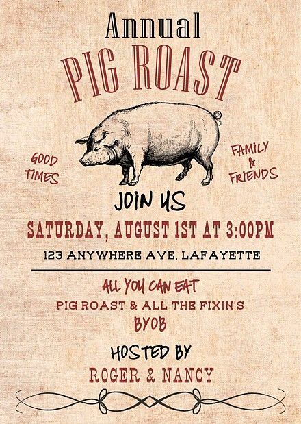 Pig Roast Invitations Pig Roast Invitation Pig Roast Pig Roast Party