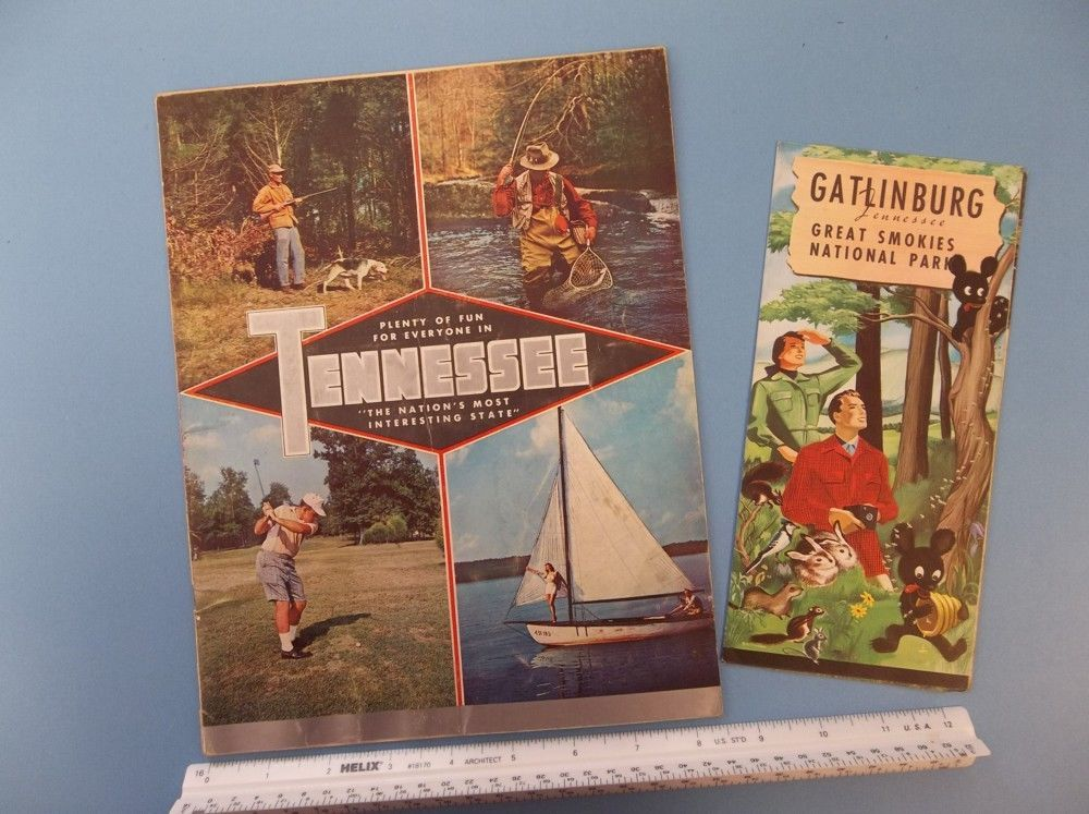 JK080 Vintage Lot 2 Tennessee & Gatlinburg Brochures Maps Pts of Interest 1950s #VintageBrochures - need to open this one and look at the pics inside - there are intesting maps on down on the list