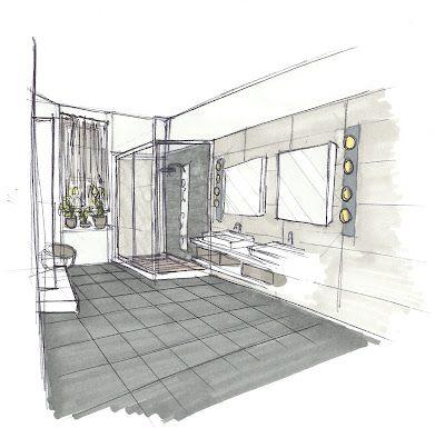 Croquis d 39 ambiance r novation de salle de bain drawing for Perspective cuisine dessin