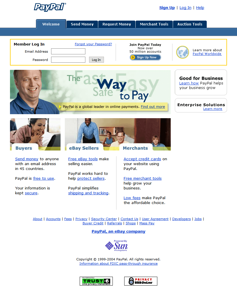 Paypal Website In 2004 Web Design Grow Business Timeline
