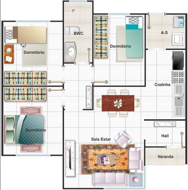 002 plano de casa recife mediterranea 3 dormitorios 68 m2 for Plano habitacion