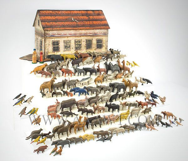 Antique Toy, Noah's Ark, 19th Century, 200+ Animals, angle view