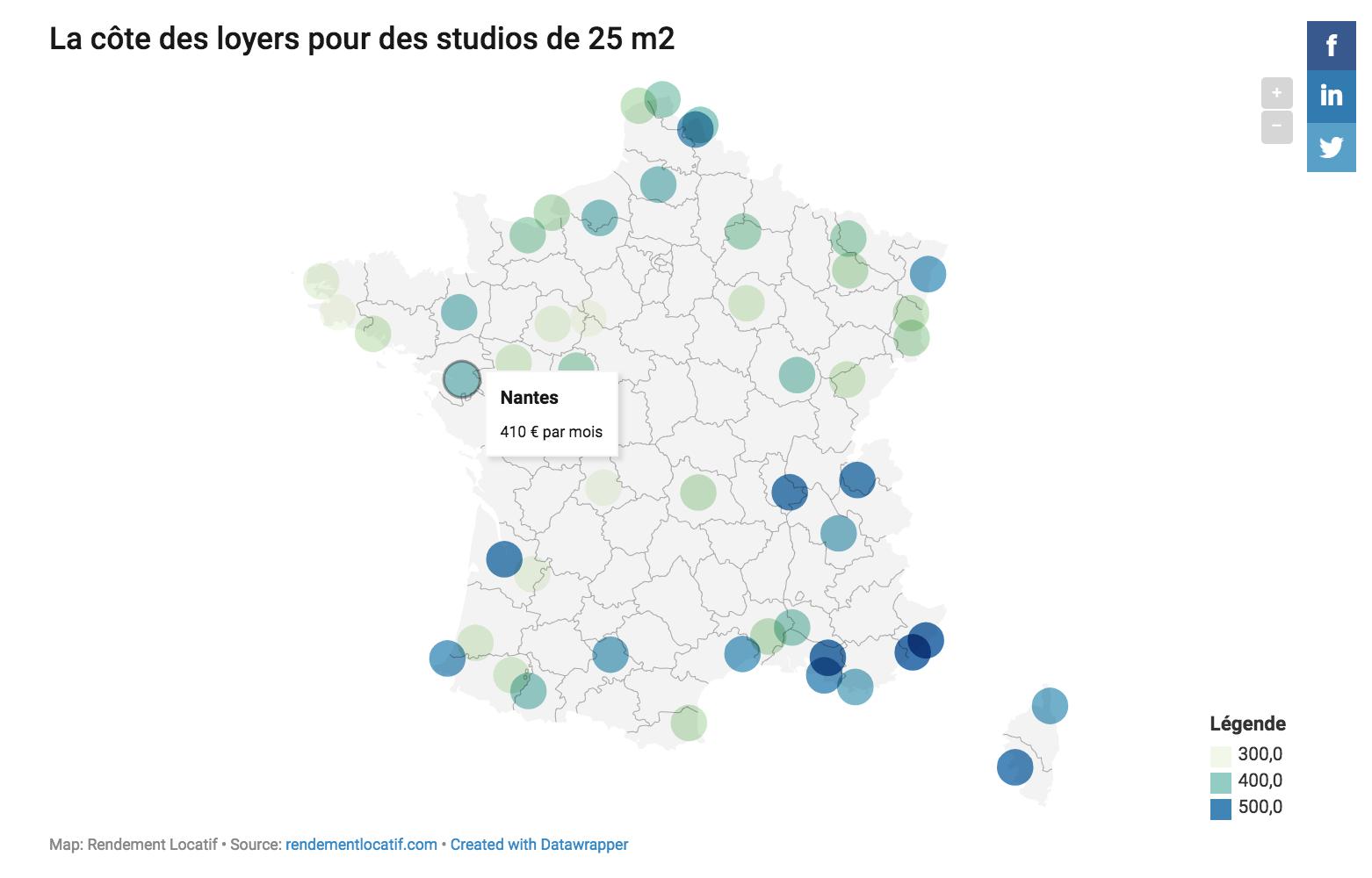 Carte Interactive Cote Des Loyers Par Villes Pour Un Studio Et Un T2 Carte Interactive Blog Et Studio