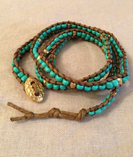 Turquoise Beaded Wrap Around Bracelet  Great worn alone or layered.