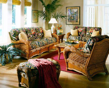 Indoor Rattan And Wicker Living Room, Sunroom Wicker Furniture Sets