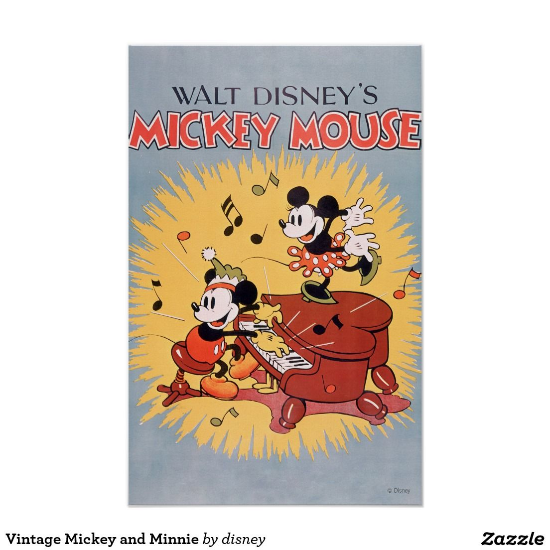 Vintage Mickey And Minnie Poster Zazzle Com Vintage Mickey Disney Posters Vintage Disney Posters