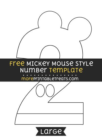 Free Mickey Mouse Style Number 2 Template - Large | Free ...