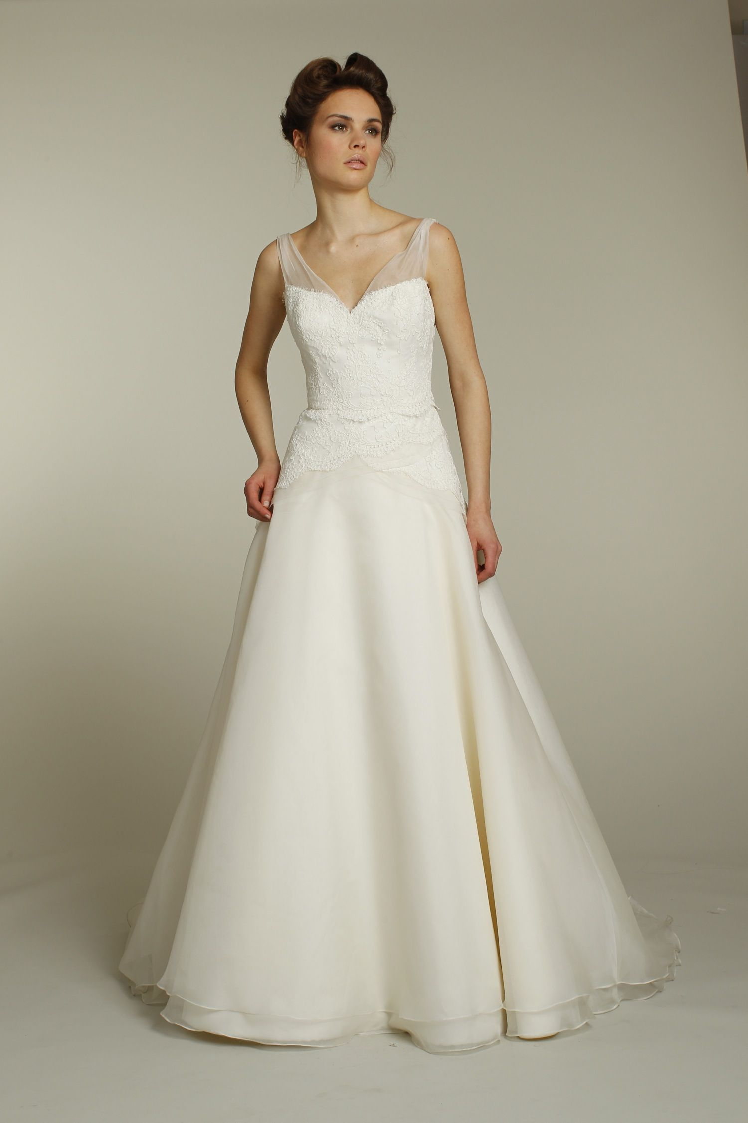 Nice Classic ivory a line wedding dress with lace applique and sheer illusion straps