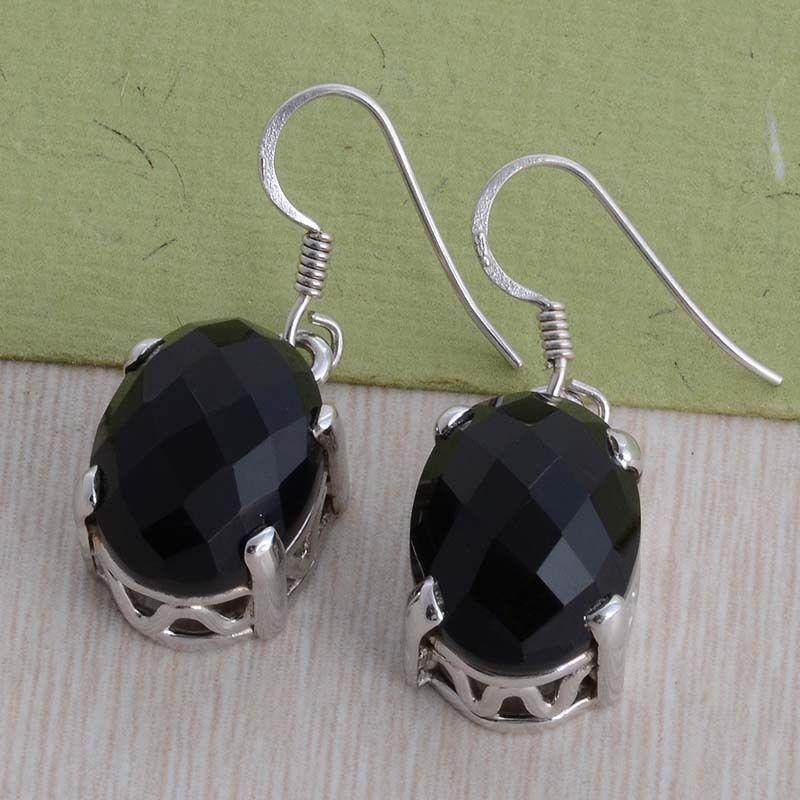 925 SOLID STERLING SILVER DESIGNER BLACK ONYX FANCY EARRING 8.49g DJER1978 #Handmade #EARRING