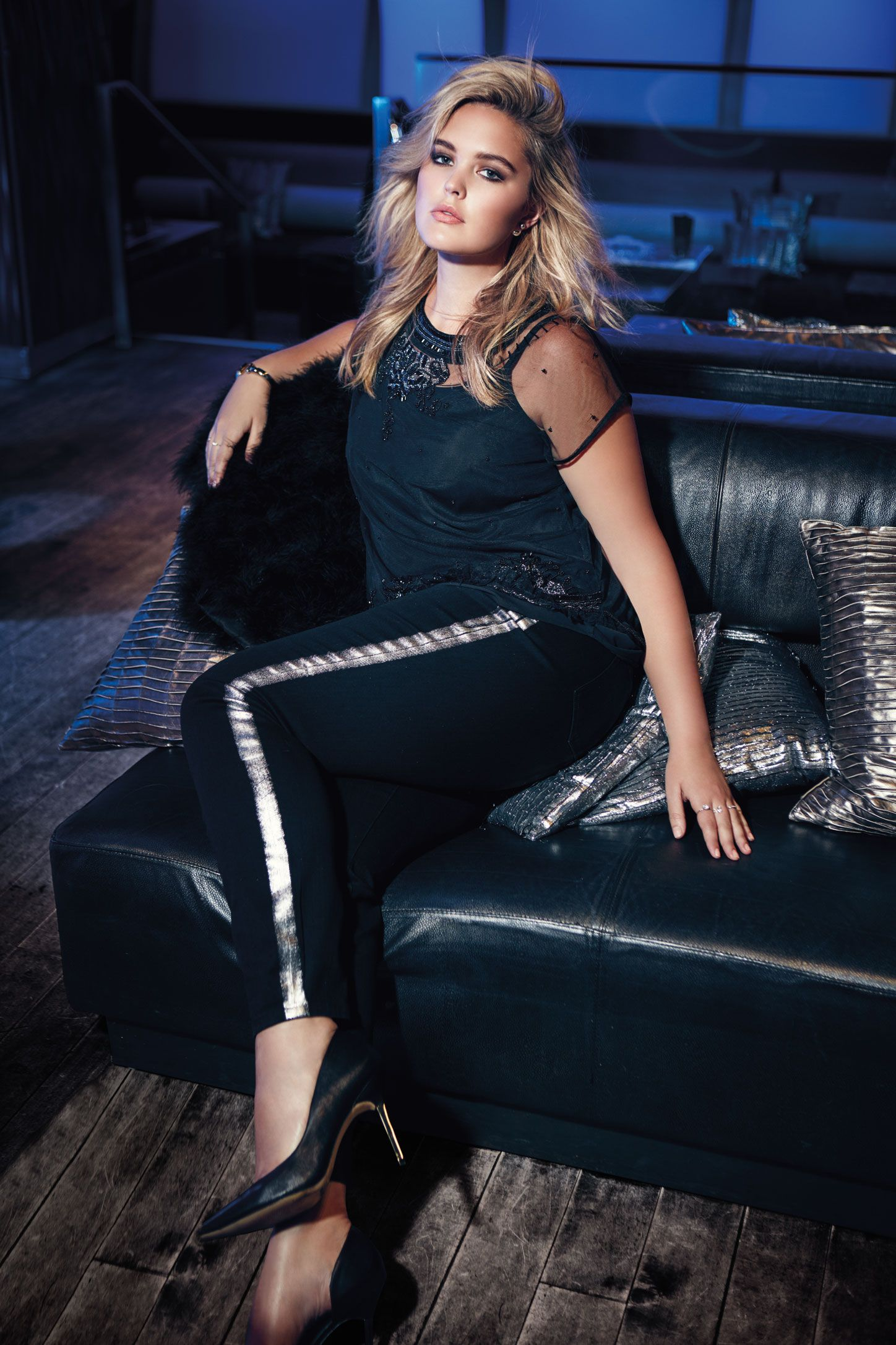 Love & Legend sheer beaded beaded top and super skinny tuxedo stripe jean from Addition Elle Holiday 2015 plus-size fashion