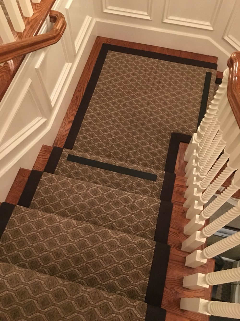 Stanton indoor / outdoor carpet fabricated into a stair runner with ...
