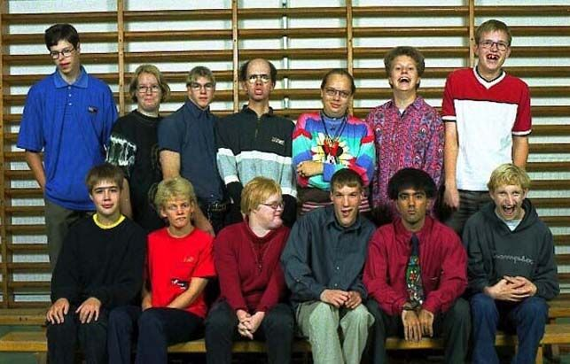 Some kind of a special school class photograph, look how small the [deleted] top 3rd in form the left's head is!!