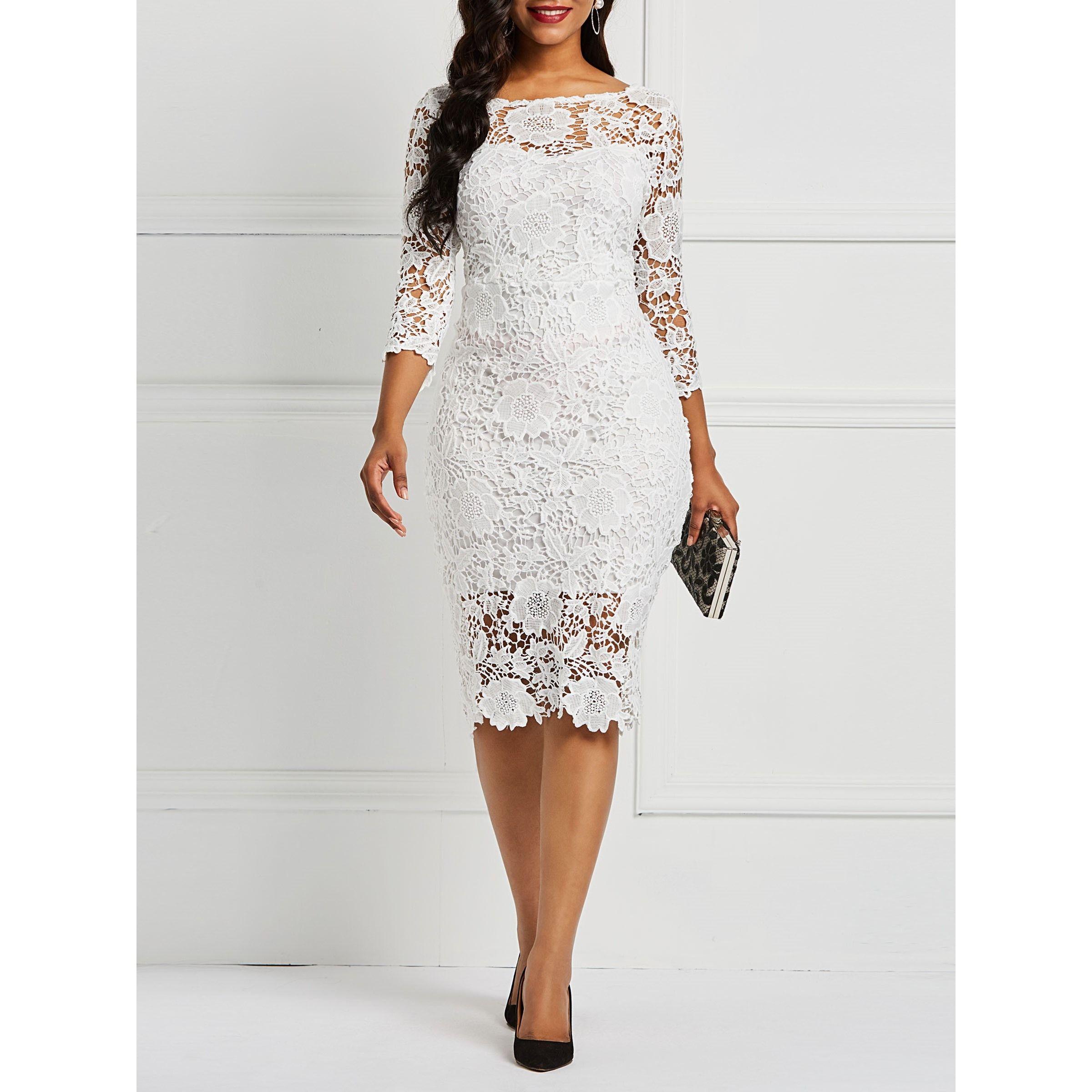 فستان دانتيل أبيض مجسم مثير موديل جديد Women Lace Dress Lace White Dress Lace Dress With Sleeves