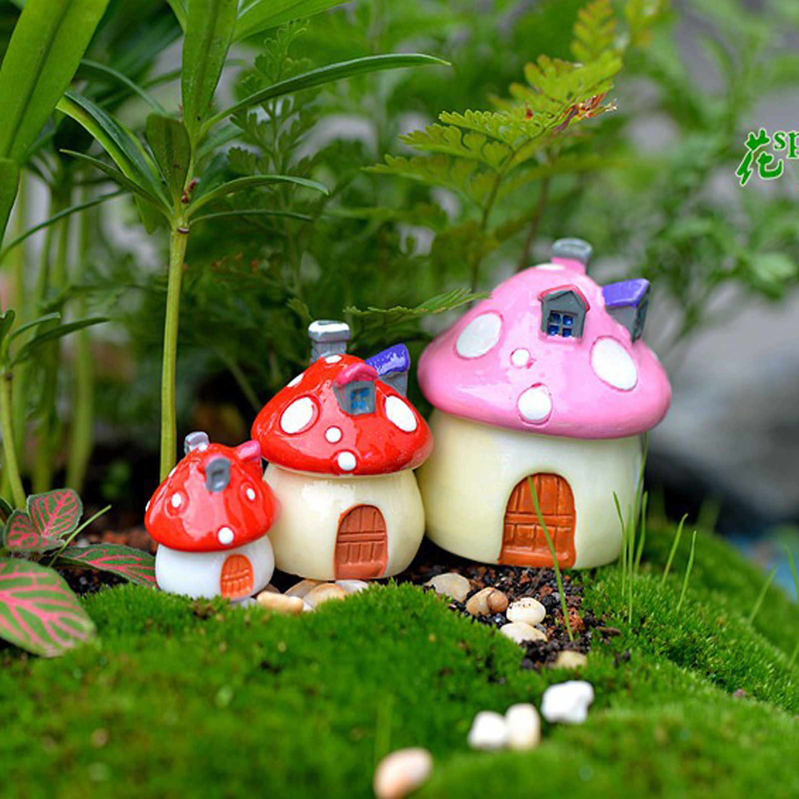 Mushroom House Resin Figurine Craft Plant Pot Fairy Garden Decor ...