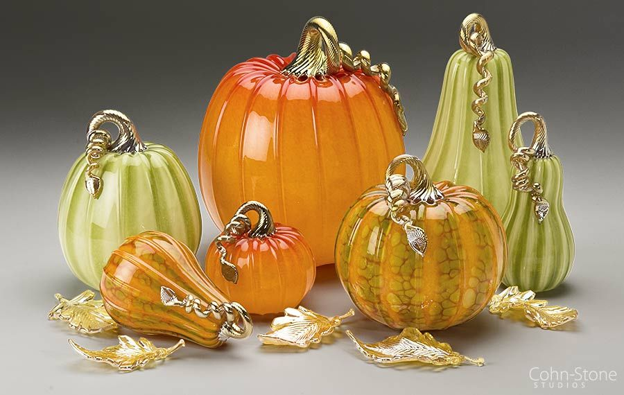 Bright And Elegant Collection Of Hand Blown Glass Pumpkins And