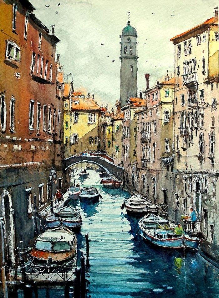 Картинки венеции акварелью