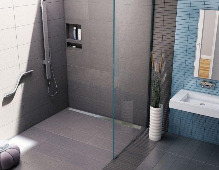 Douche à lu0027italienne encastrable- 50 salles de bains modernes! - faience ardoise salle de bain