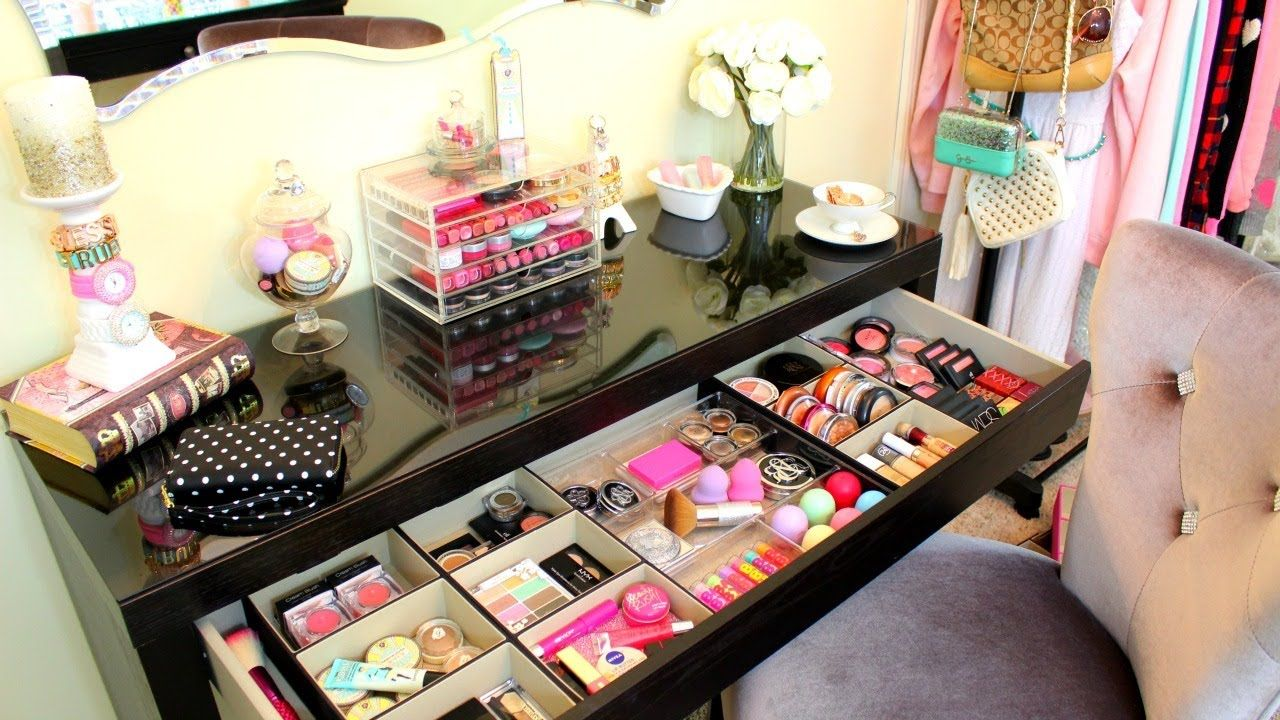 Makeup storage organization ideas diy makeup storage for Beauty table organiser