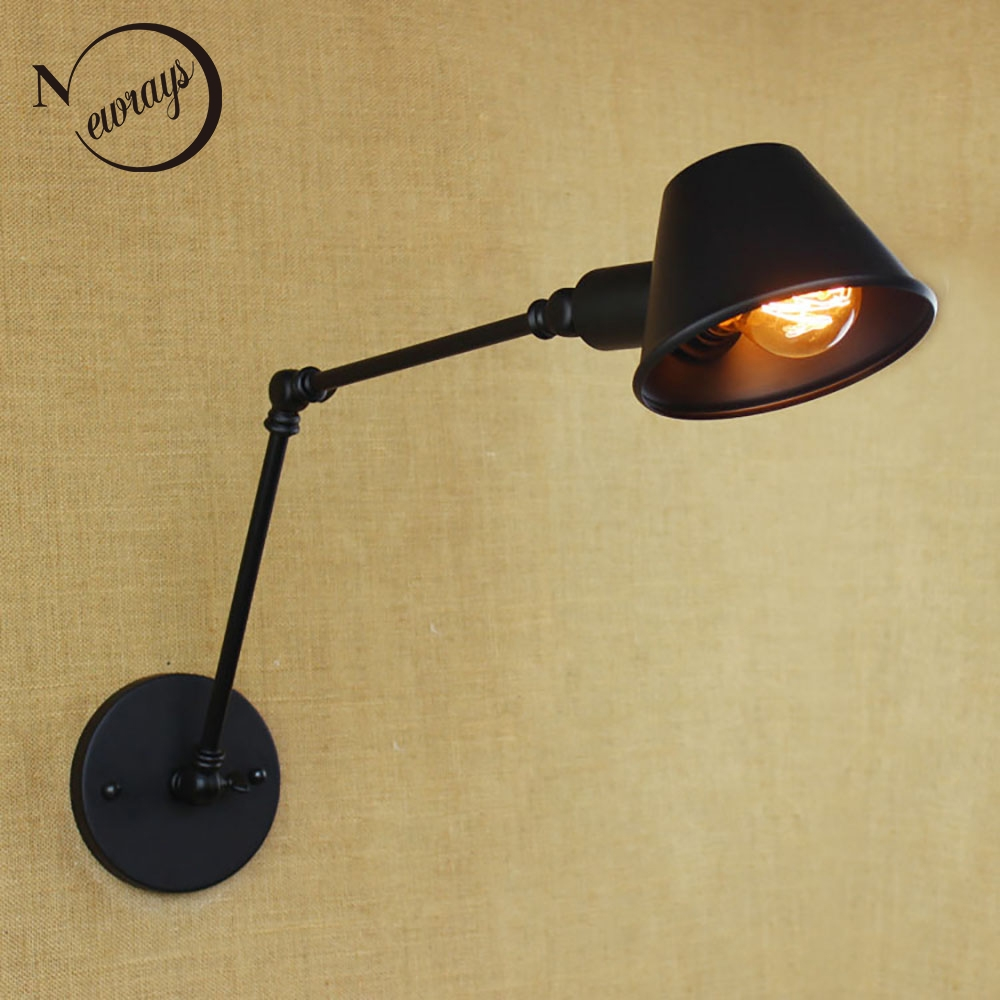 51.00$  Buy here - http://alitwq.shopchina.info/1/go.php?t=32568835205 - Loft retro Matte Black iron shade adjustable swing arm reading wall lamps Lights e27 / e26 sconce for workroom bedroom bar cafe  #magazineonlinewebsite