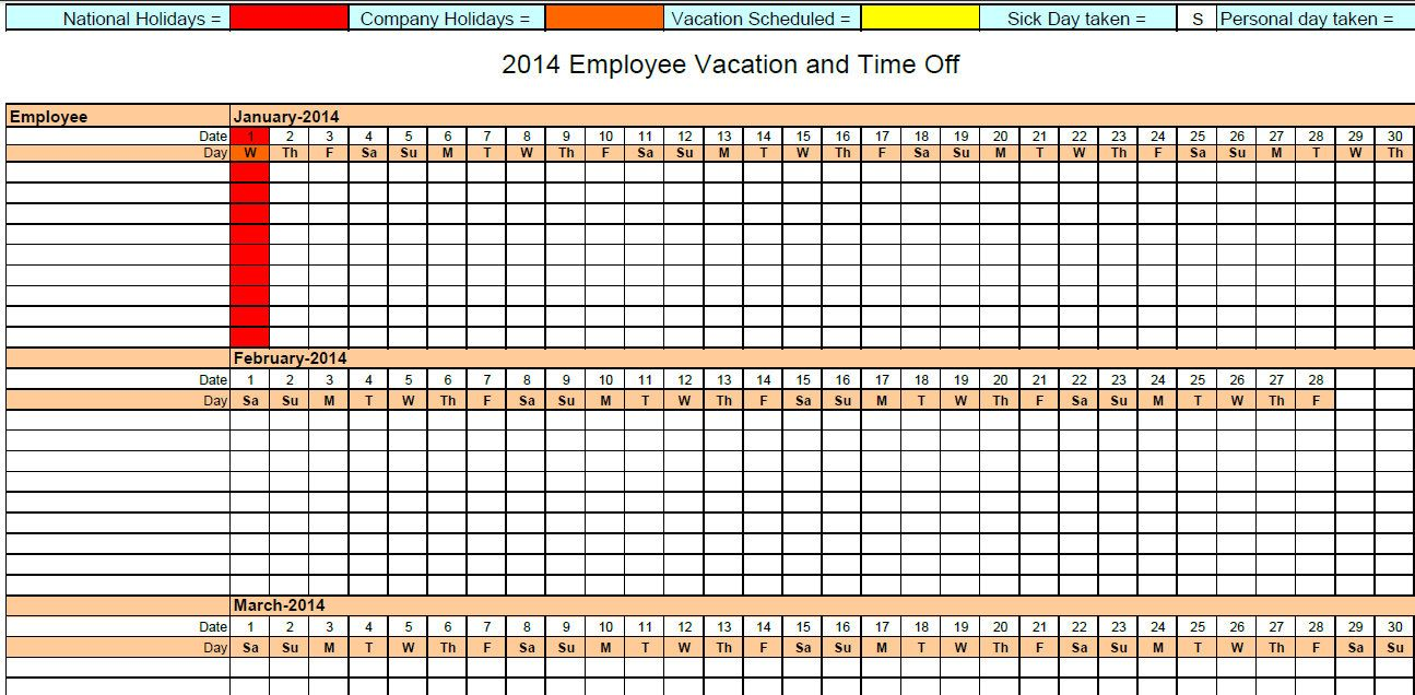 Printable PDF 2014 Employee Absence Vacation Tracking Calendar ...