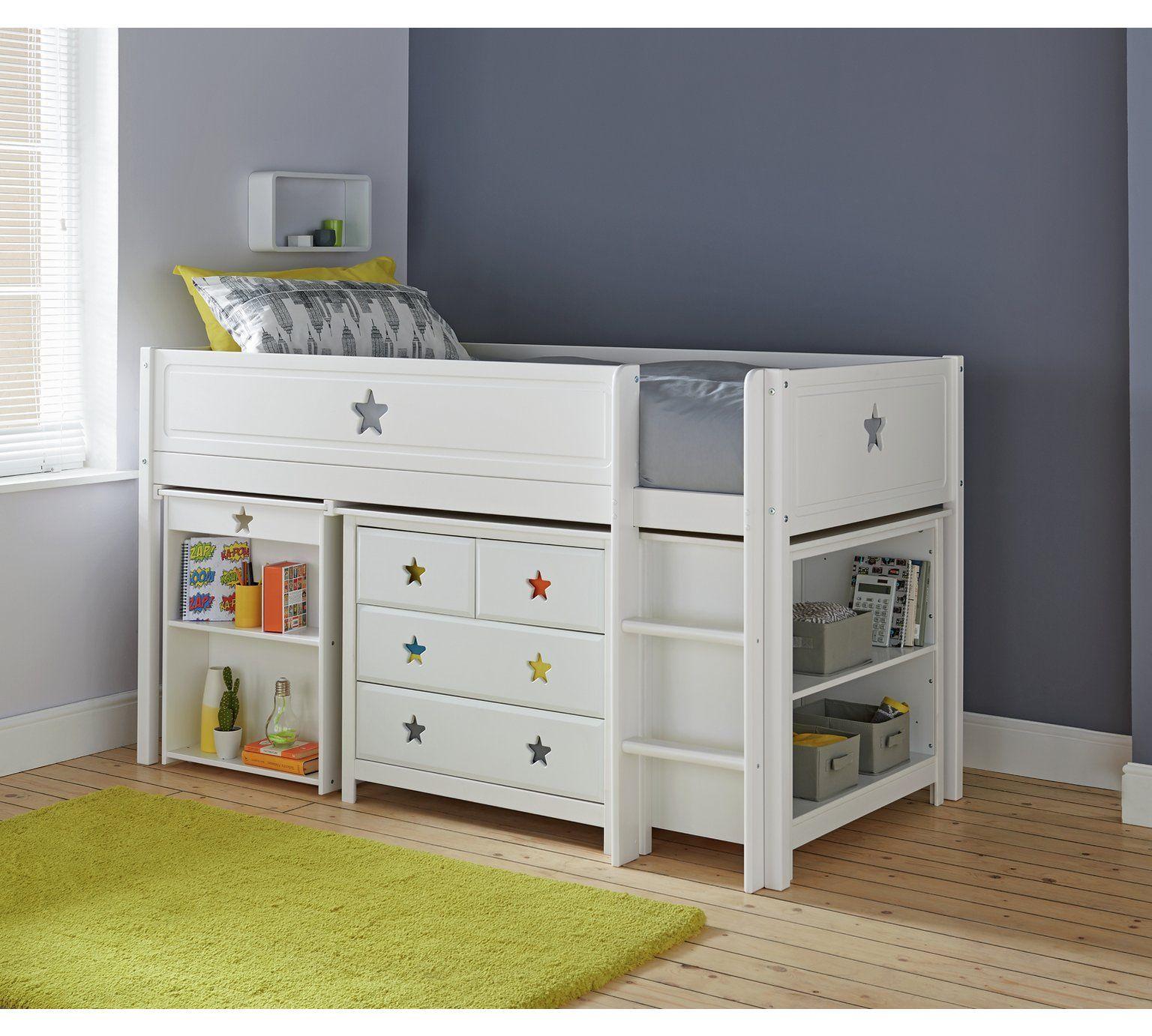 Buy Argos Home Stars Mid Sleeper Bed Drws Desk Shelves White Kids Beds Argos Cabin Beds For Kids Kid Beds Mid Sleeper Bed