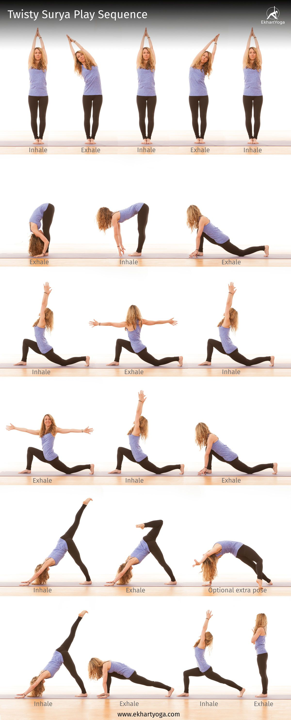 This Twisty Surya Play Sequence Will Stretch Your Side Body Wring Out Your Spine Elongate Your Quadriceps And Easy Yoga Workouts Yoga Poses How To Do Yoga