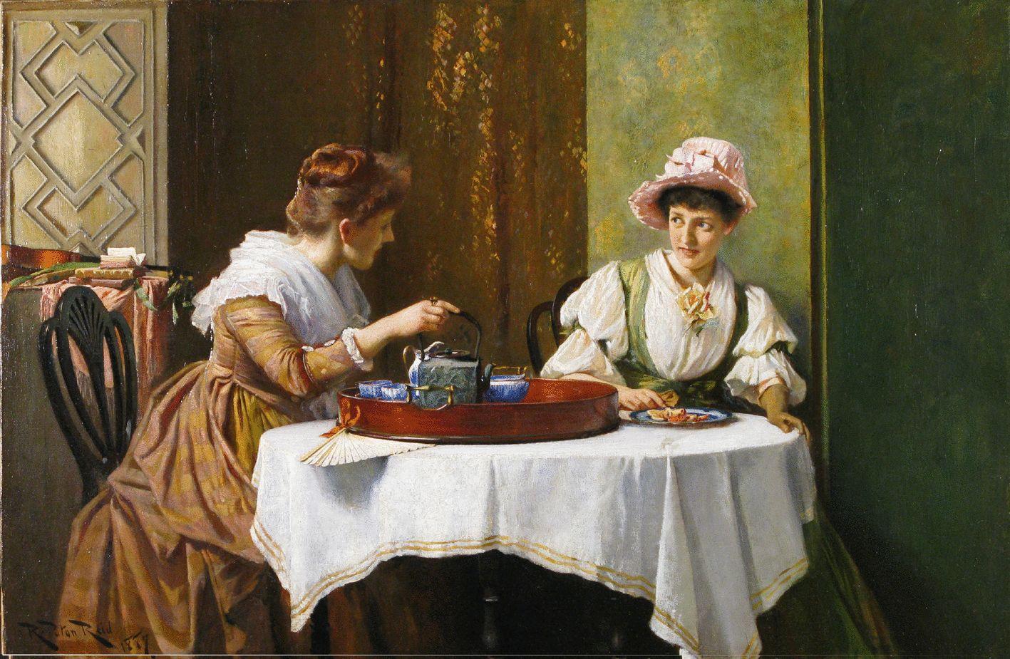 A Little Tea & Gossip by ROBERT PAYTON REID (scottish, 1859-1945) - Cider House Galleries