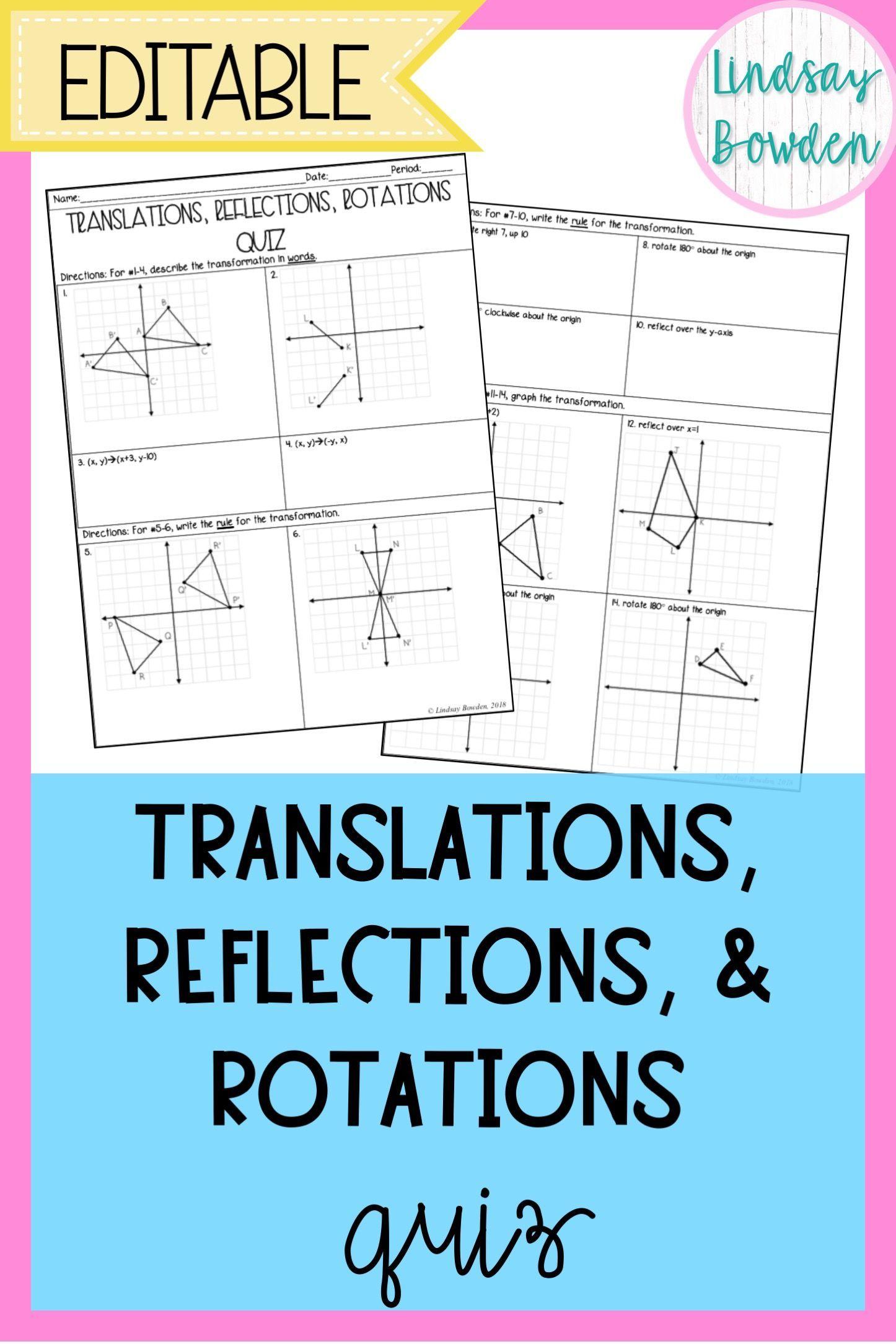 Hs Geometry Transformations Workbook Translations Rotations Reflections Hs Geometry Geometry Worksheets Reflection Math