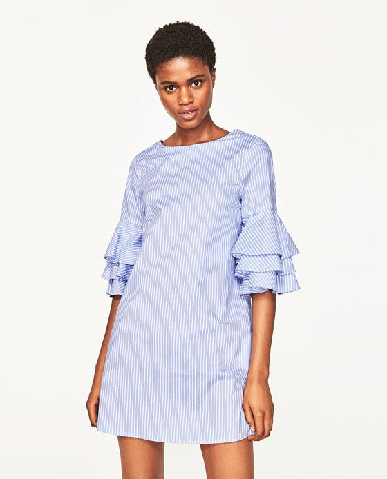 2e6905ba350b21 Image 2 of STRIPED DRESS WITH RUFFLED SLEEVES from Zara