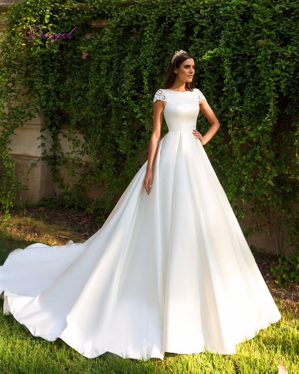 Wedding dress with lace sleeves  Dreagel Elegant Short Sleeve A Line Satin Court Train Wedding Dress