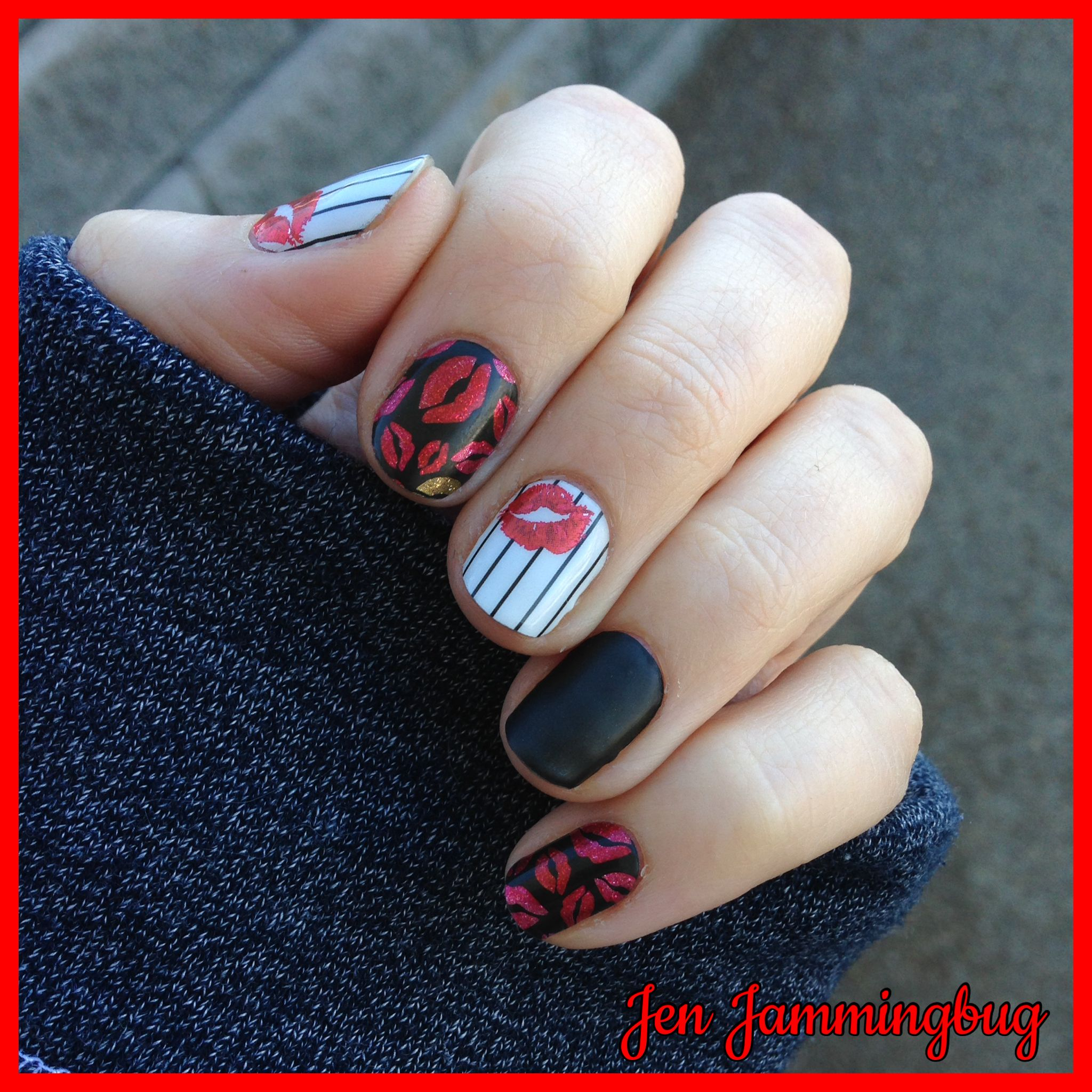 Valentine\'s themed nails from Jamberry! I paired Kiss Goodnight with ...