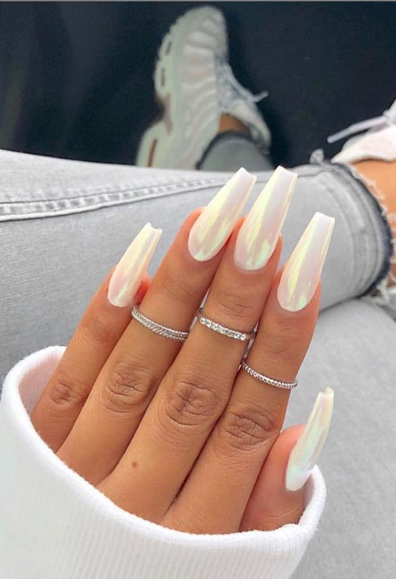 30 Beautiful Iridescent Nail Art Designs For Any Occasion Page 22 Of 31 Matte White Nails Acrylic Nails Coffin Short Coffin Nails Long