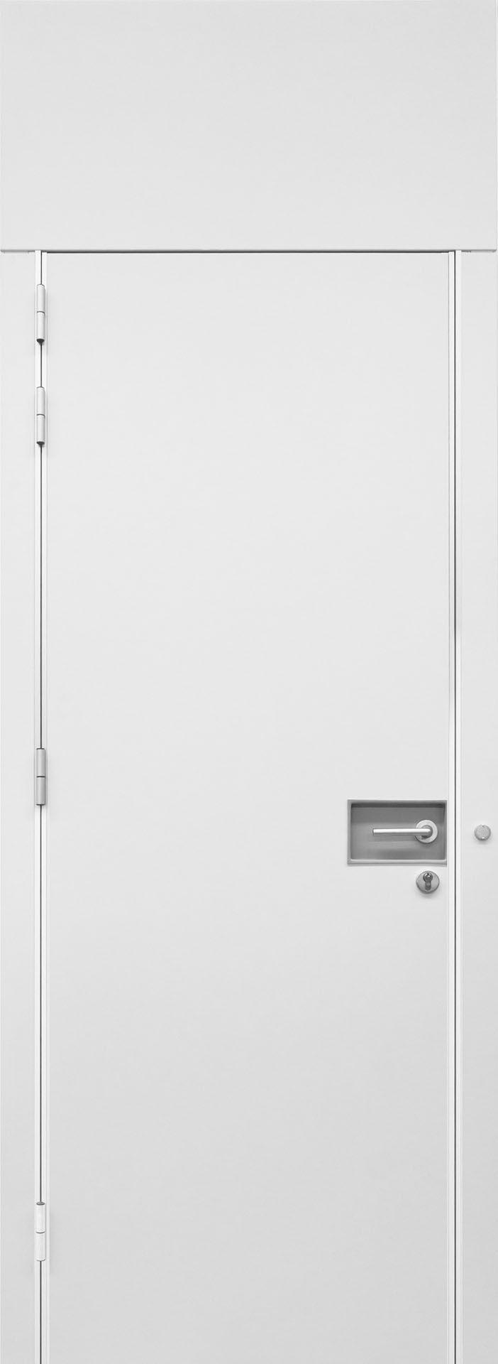 Rolling Wall door in melaminic panels in White color with recessed handle  //  ---  //   Porta Rolling Wall in pannelli di melaminico colore bianco con maniglia incassata
