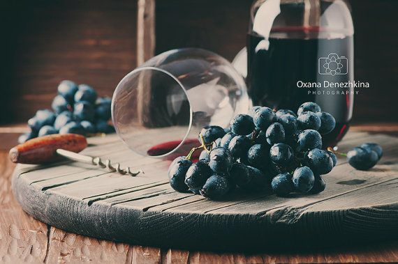 Rustic kitchen art. Red wine and fresh by OxanaDenezhkinaPhoto
