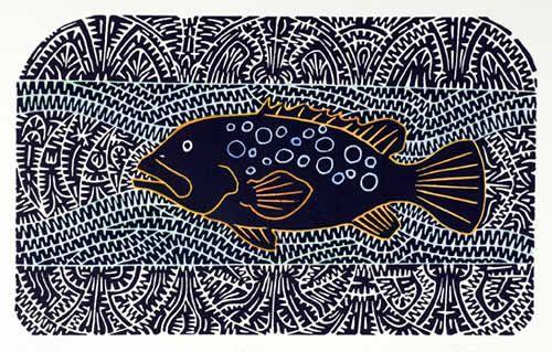 Witi - David Bosun - Linocut - Hand coloured - DB033 - Aboriginal and Torres Strait Islander Art Prints