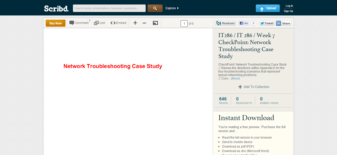 It 286 case study --> www.scribd.com/doc/62527535/IT286-IT-286-Week-7-CheckPoint-Network-Troubleshooting-Case-Study