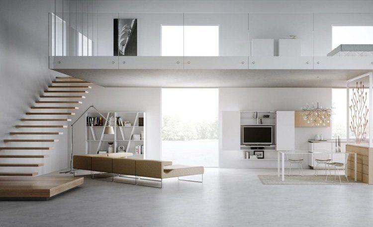 mezzanine avec escalier suspendu à départ en plate-forme en bois ...