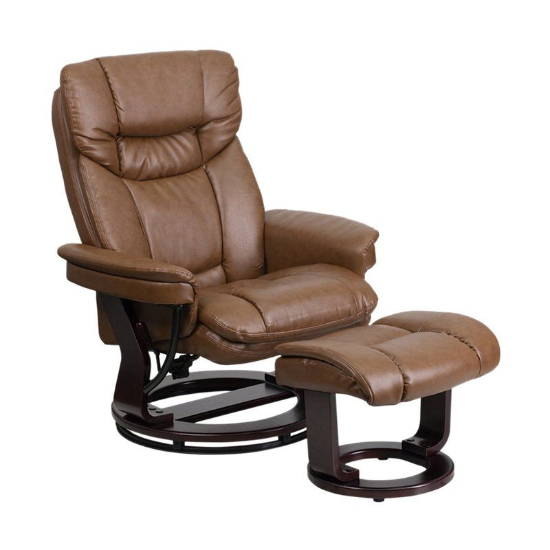 Mateo Manual Swivel Recliner With Ottoman With Images Leather
