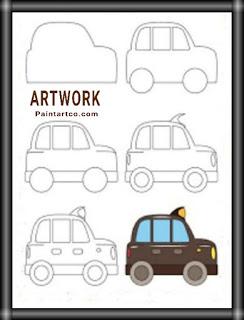 تعليم الرسم للاطفال المبتدئين رسم سيارة بالخطوات والصور Easy Drawings Drawings Artwork