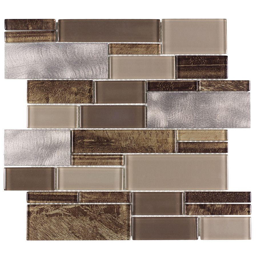 Metal Wall Tiles For Kitchen Shop Allen Roth Laser Contempo Beige Mixed Material Glass And