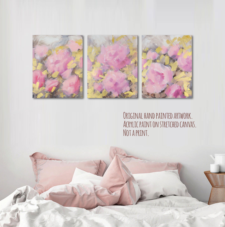 """20x48"""" Large original Blush pink canvas painting Blush"""