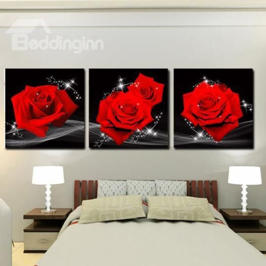 Red Wall Art amazing red roses print 3-piece cross film wall art prints