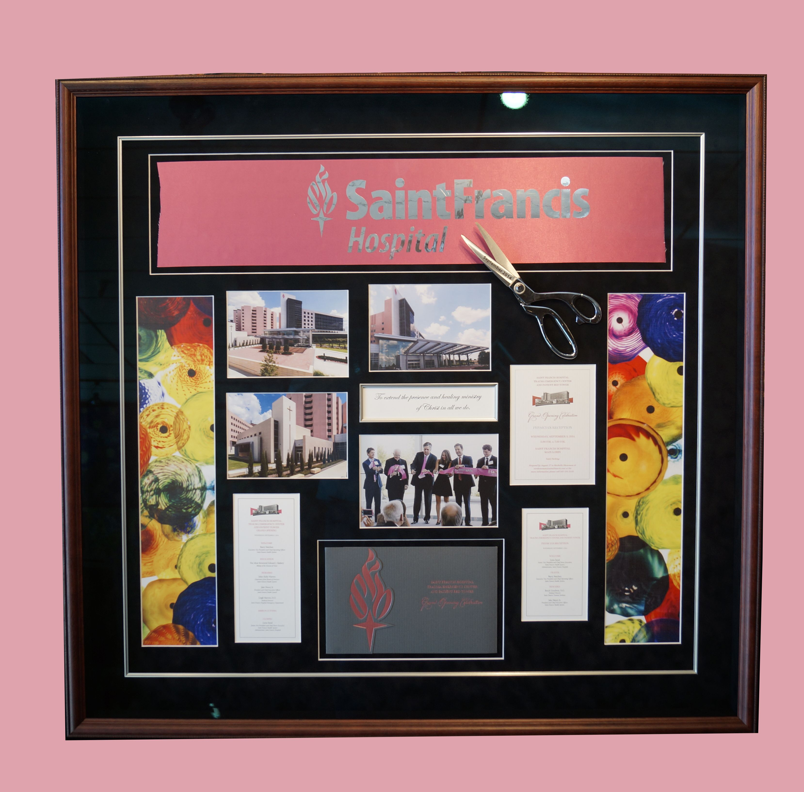 This custom shadow box features multiple opening mats and a fillet ...