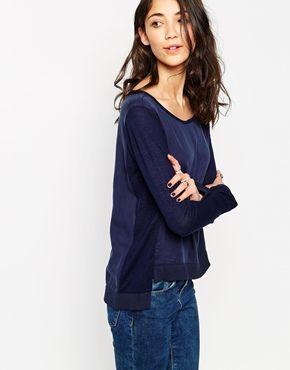 Vero Moda Long Sleeve Top With Contrast Sleeves