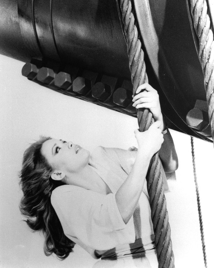 A production still of Tanya Roberts during filming for A ...