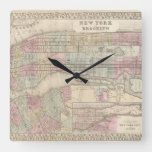 Vintage New York City Map Square Wall Clock#vintage #maps #travel #charts #gifts