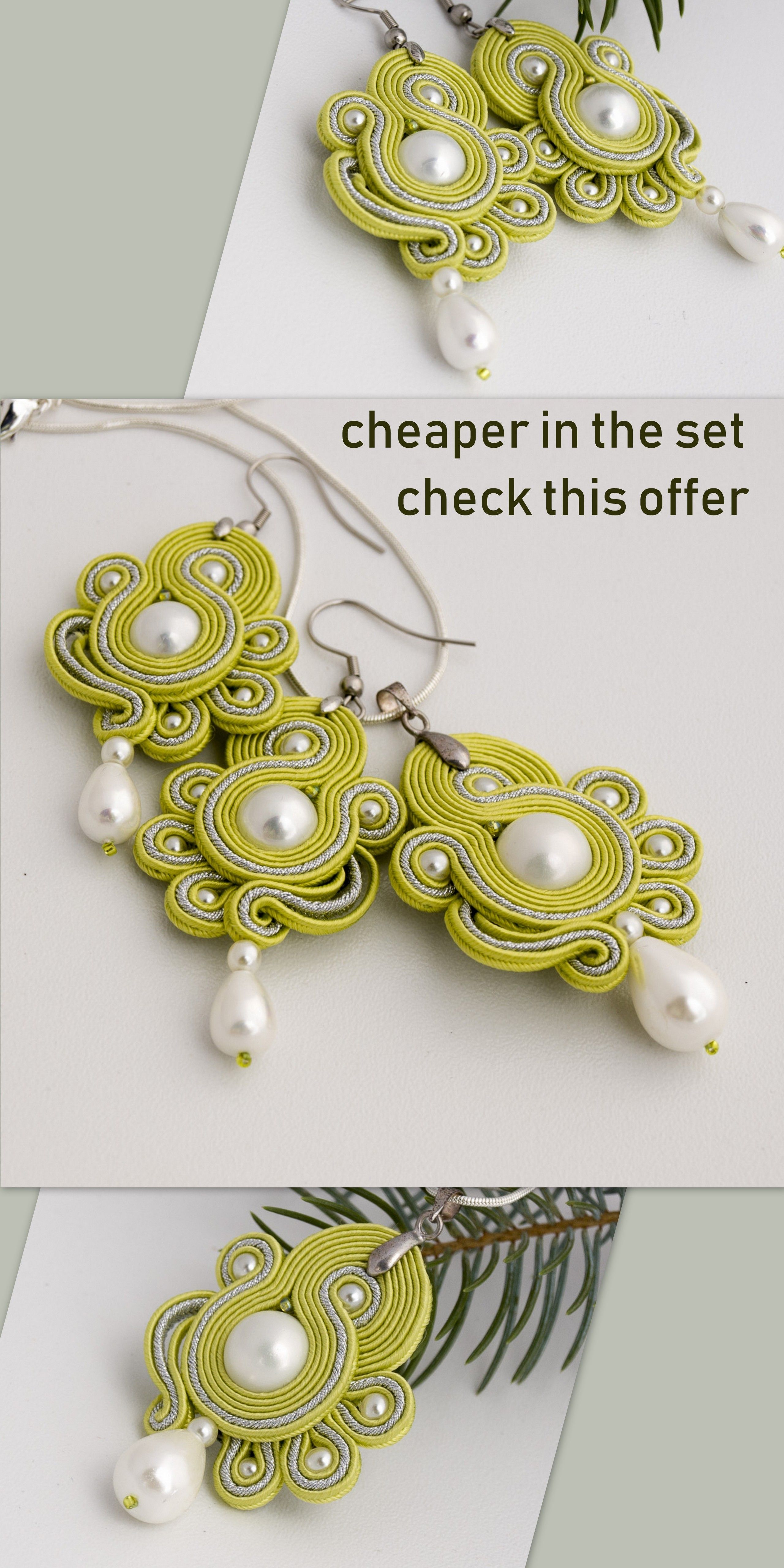 Pearl jewelry set in light green pastel bridesmaid soutache jewelry