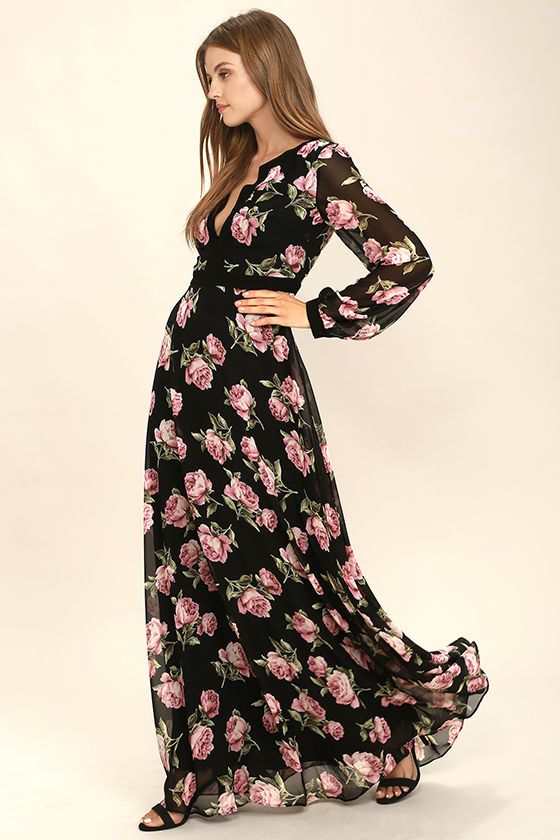 The Heritage Rose Black Floral Print Maxi Dress is sure to make any evening  extra bright! Woven poly with a stunning black 953b811e8